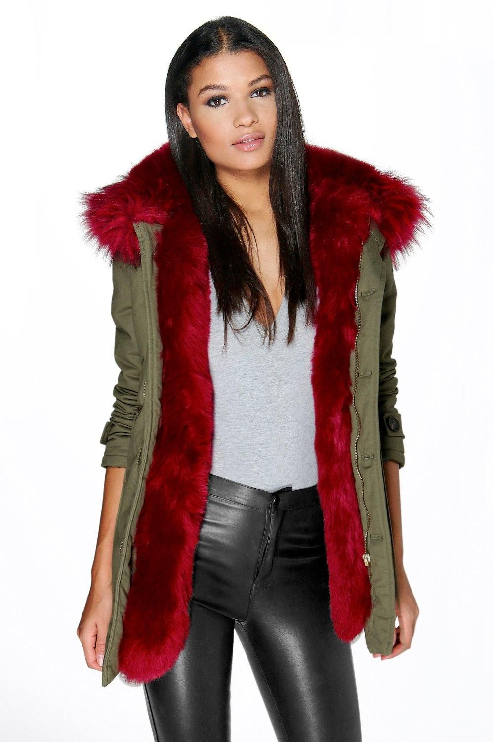 Boutique Maria Faux Fur Trim Parka | Boohoo, Fur trim and Fur