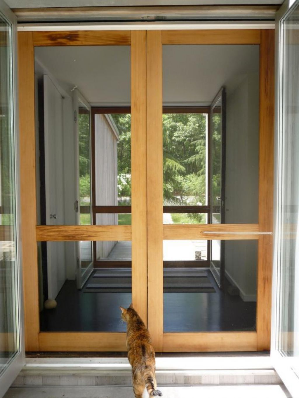 Simple Home Depot Screen Doors With Teak Wood Material For The ...