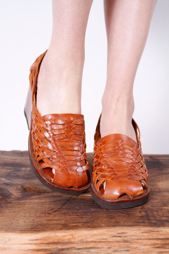 1970s shoes . 70s leather huarache sandals with wood platform heel sz 6.5 by coralvintage, $68.00