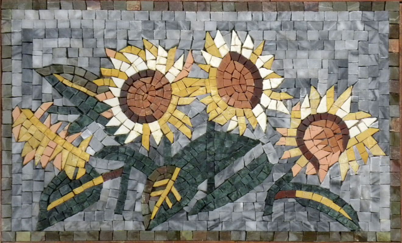 Art Décor: Sunflower Marble Mosaic Tile Stone Art Wall Mural Floor
