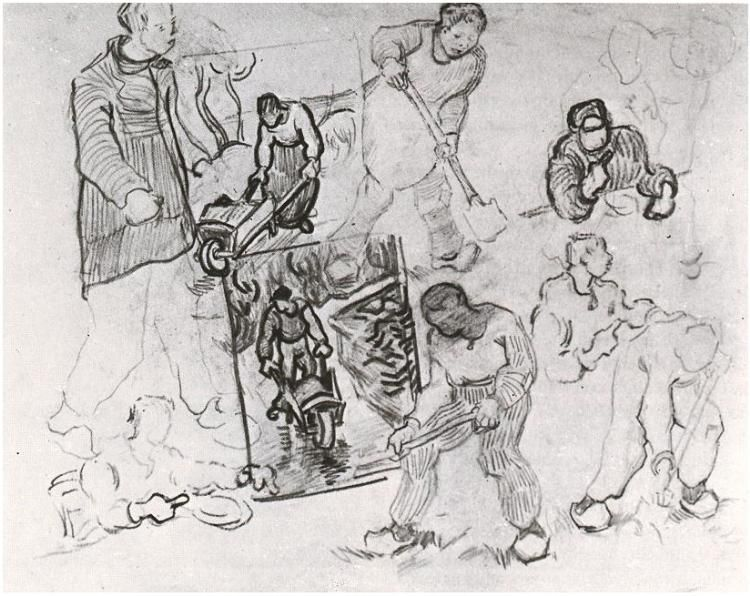 Vincent van Gogh: Sheet with Sketches of Working People Drawing