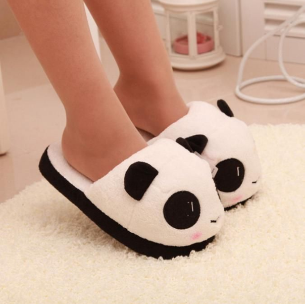 Photo of Details about Women Slippers Panda Winter Warm Plush Antiskid Indoor Home Floor Slippers Shoes