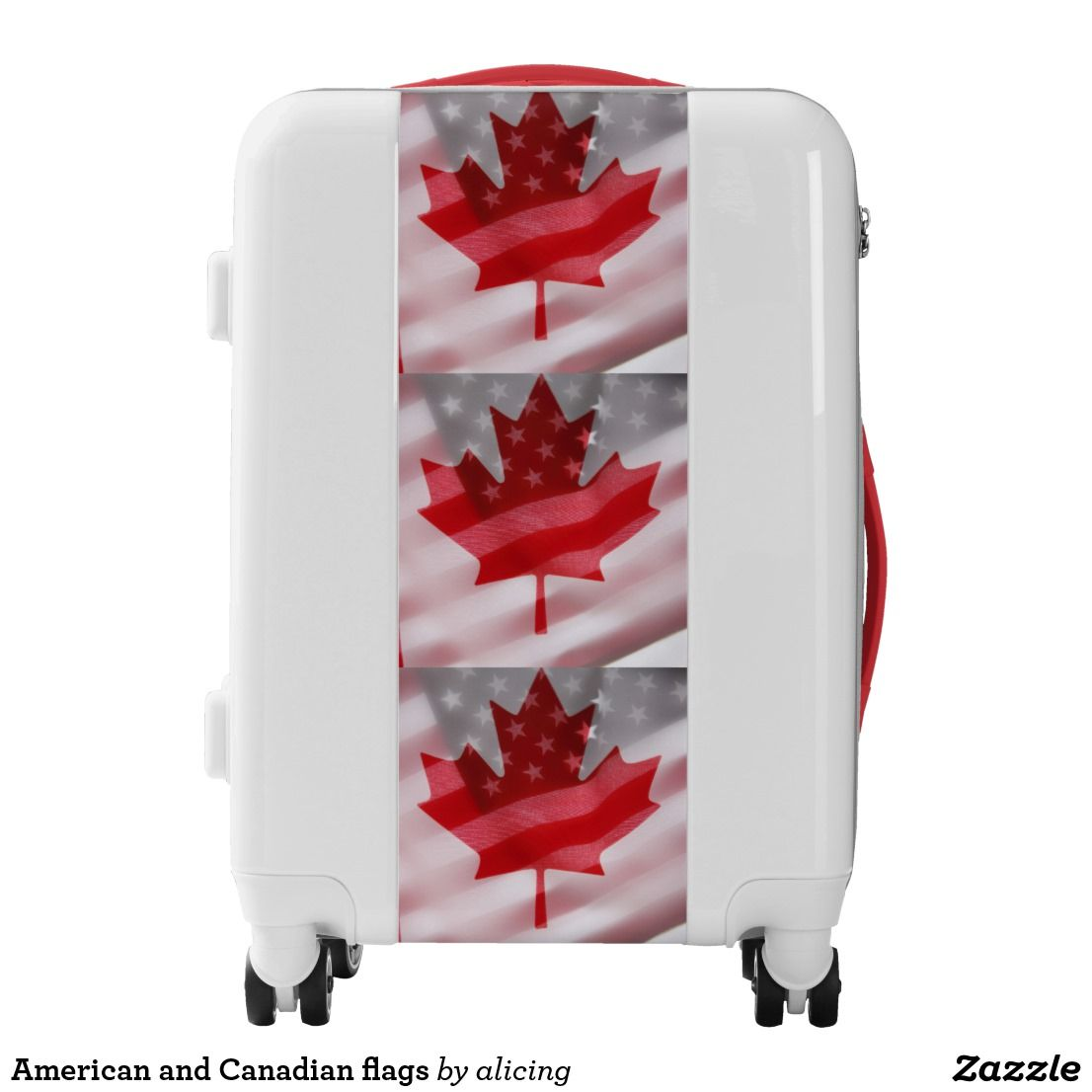 American And Canadian Flags Luggage Zazzle Com Canadian Flag Luggage Tsa Approved Locks