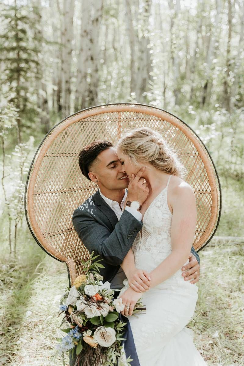 Calgary intimate farmyard elopement bride and groom wedding day