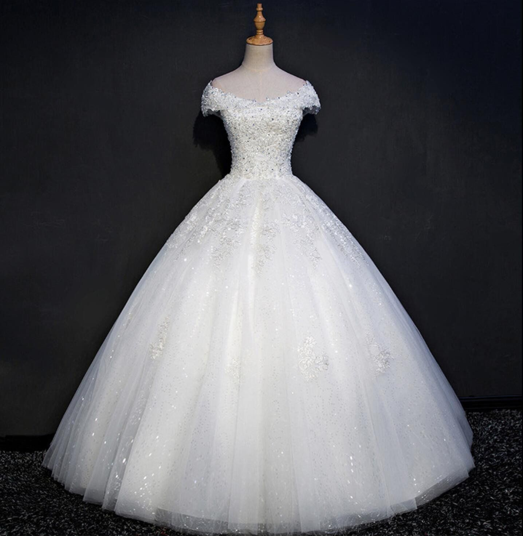 Cap sleeve lace beaded a line wedding dresses custom made wedding