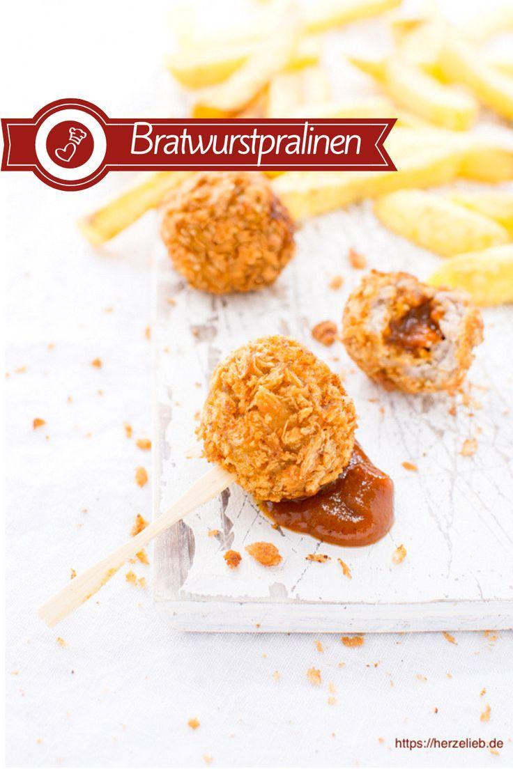 Bratwurstpralinen gefüllt mit Curry Ketchup #fingerfoodrezepteschnelleinfach