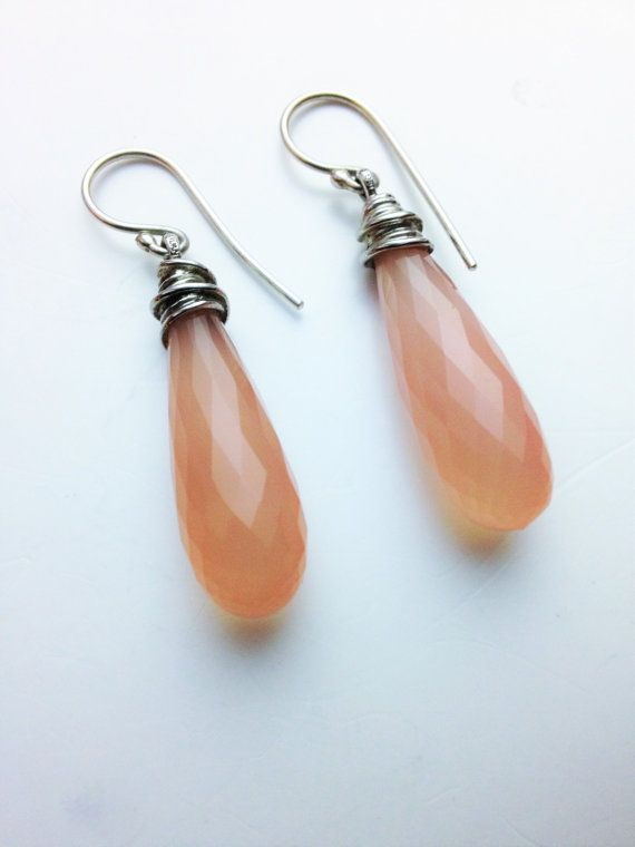 Sterling Apricot Quartz Artisan Sterling Earrings Long Drop Earrings Stone Pierced Earrings Peach Faceted Quartz Earrings Bohemian Earrings