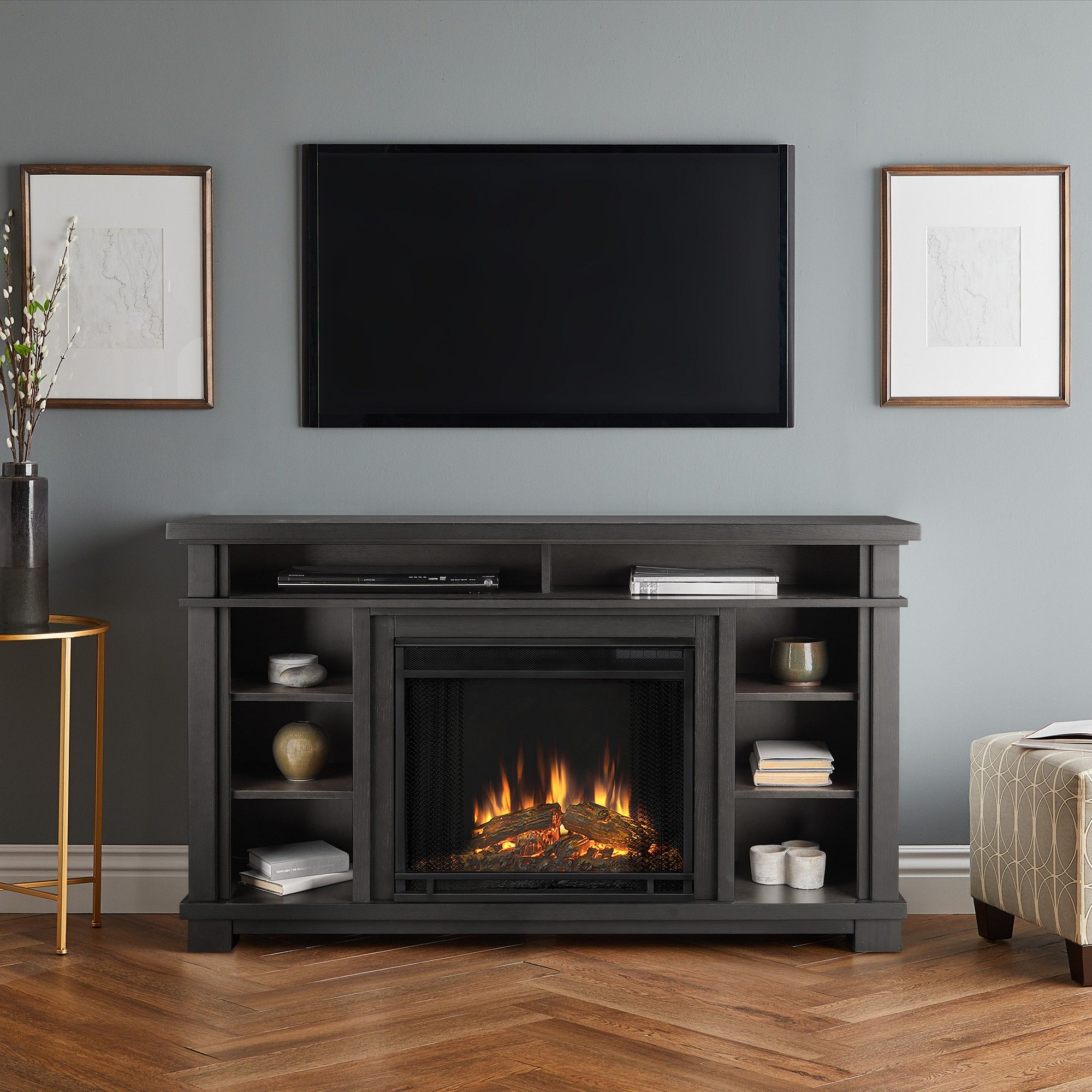 56 Belford Electric Fireplace Entertainment Center Gray Real