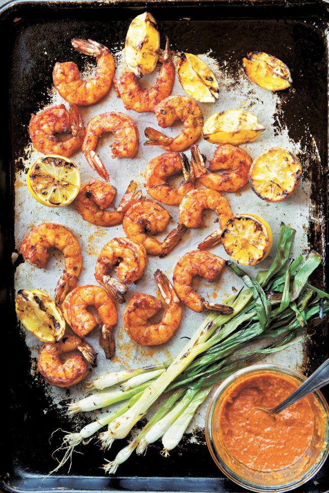 Grilled Shrimp & Green Onions with Romesco