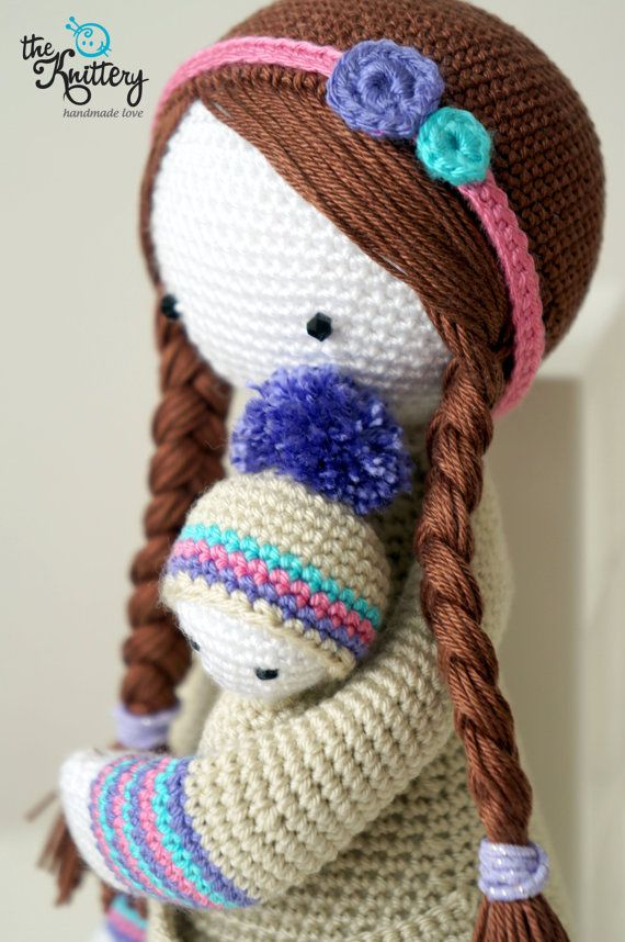 Crochet doll with baby, hair in braids and head accessory ...