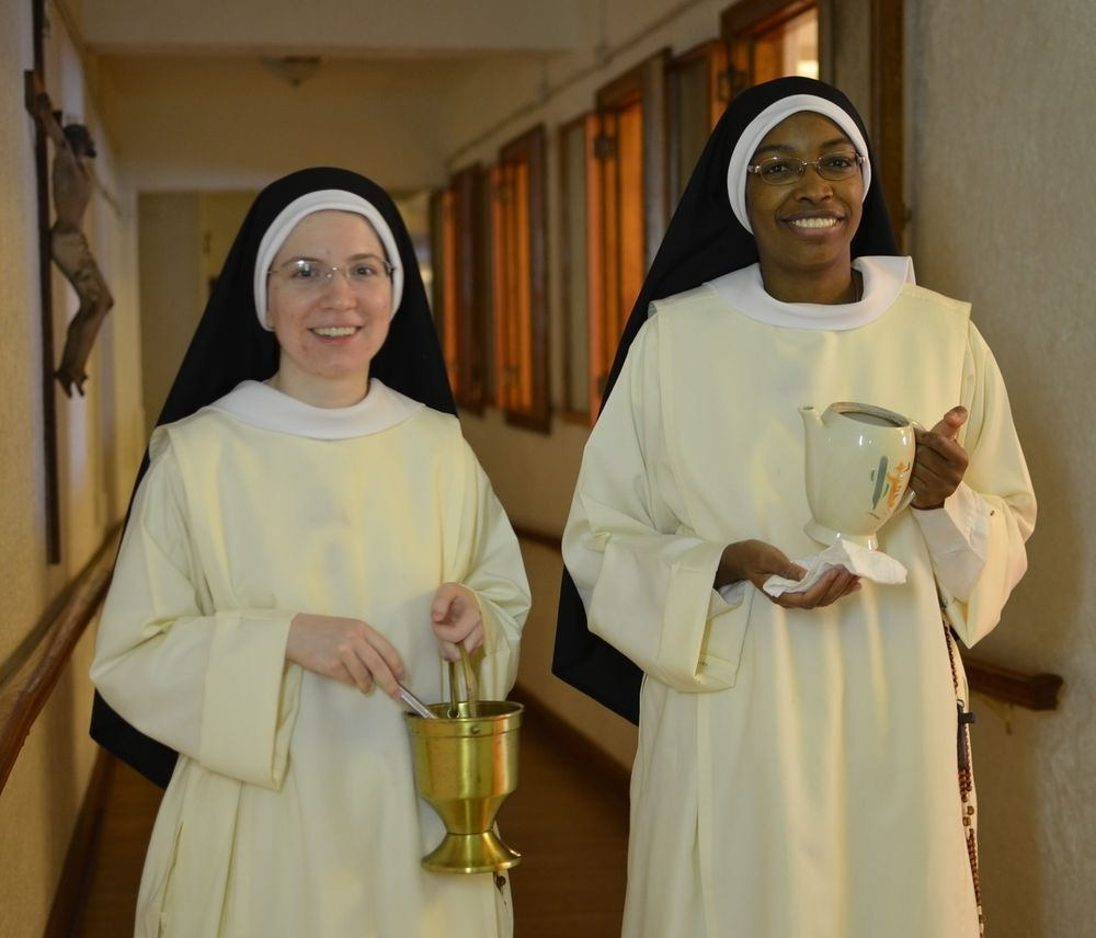 Sr. Mary Veronica and Sr. Mary Jacinta's bless the different rooms in the monastery every Sunday.