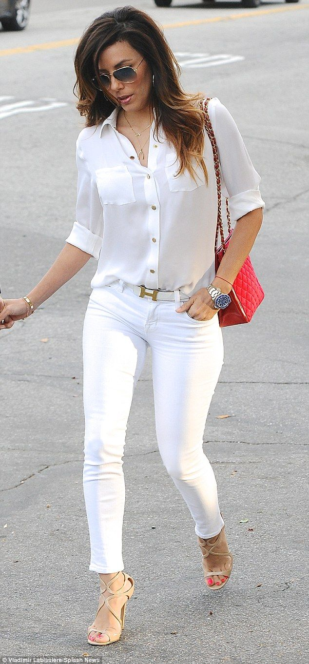 Eva Longoria stunning as usual in white slim pants and strappy high heels