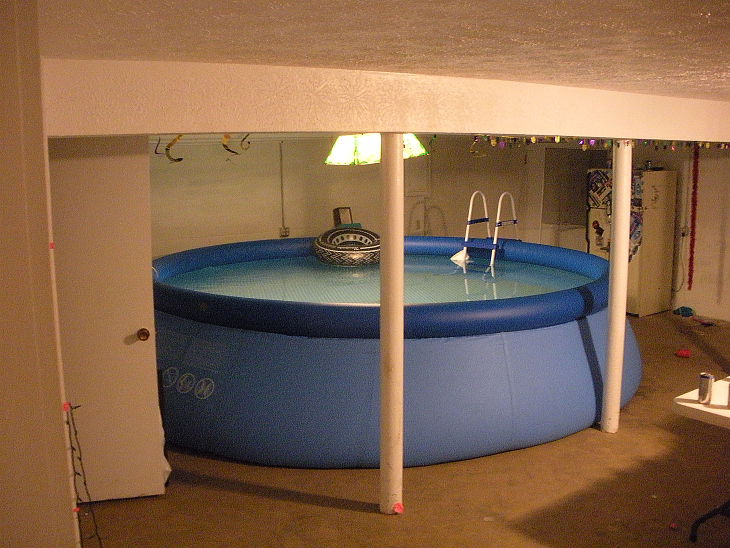 Inflatable Basement Pool Do Not Attempt This At Home In Ground Pools Basement Pool Indoor Pool