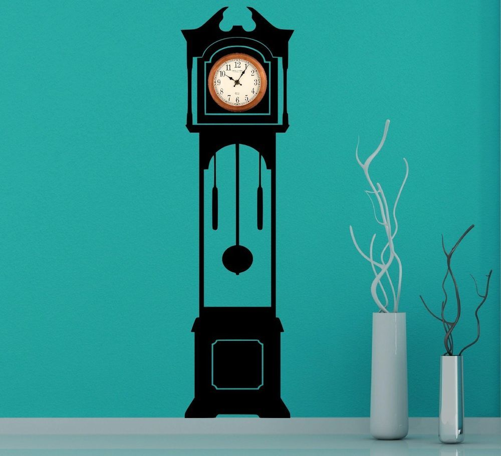 Details About Large Grandfather Clock Silhouette Wall Stickers - How to make vinyl wall decals with silhouette