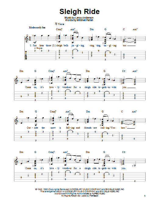 Sleigh Ride by LeRoy Anderson - Easy Guitar Tab - Guitar Instructor ...