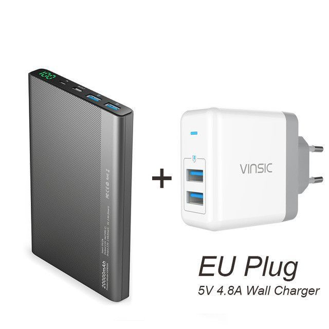 Vinsic 20000mAh Power Bank Dual 2.4A with Type C Wall Charger USB Smart External Battery Charger for Iphone Phone Smartphone