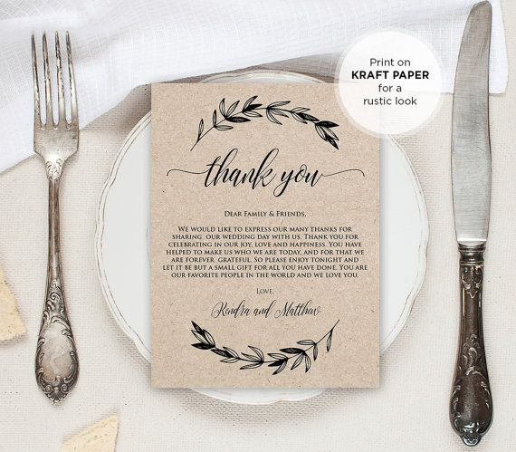 Printable Wedding Thank You Letter, Reception Thank You Note, In