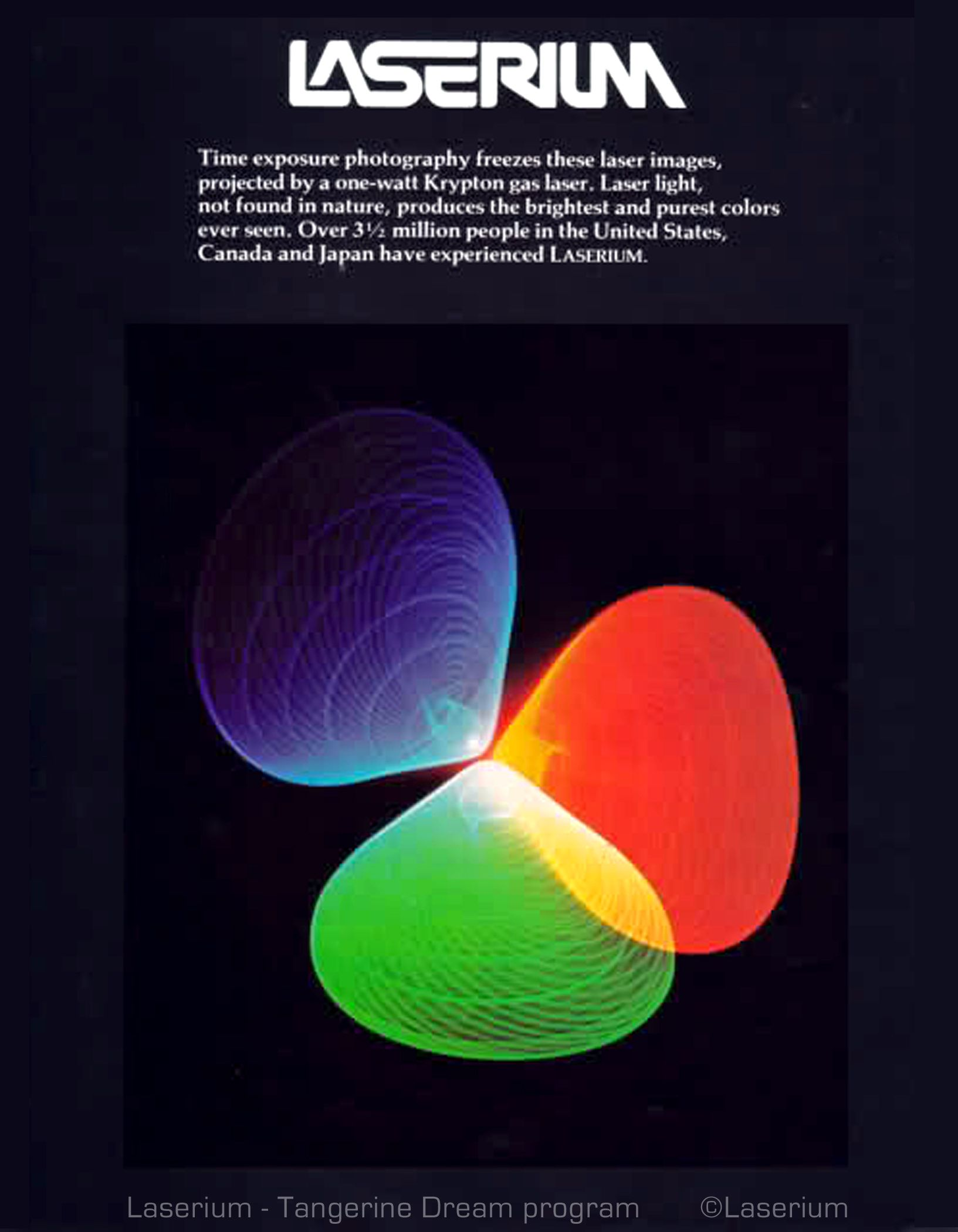 TANGERINE DREAM LASERIUM laser entertainment from tours of