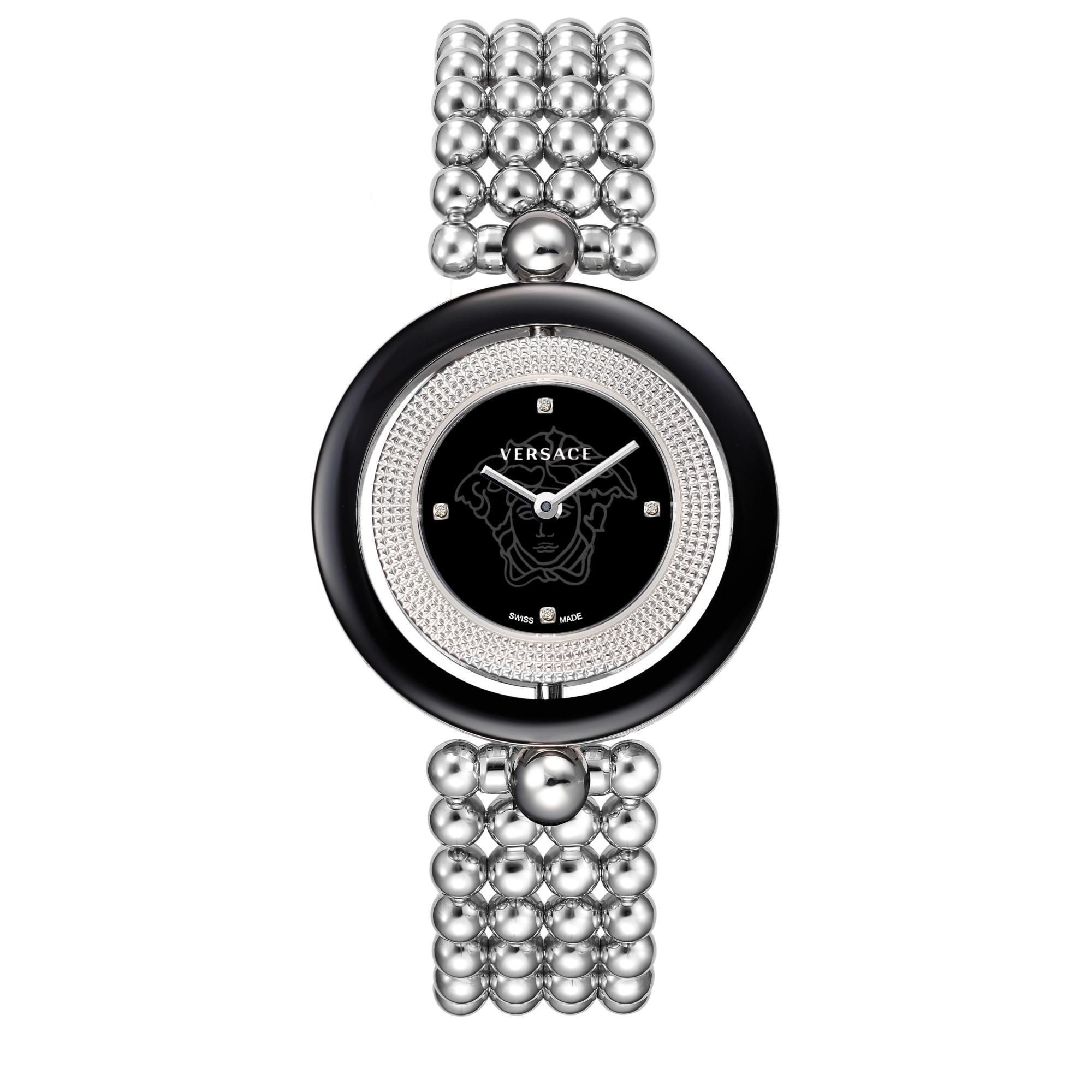 Versace qads womenus eon black dial steel daimond