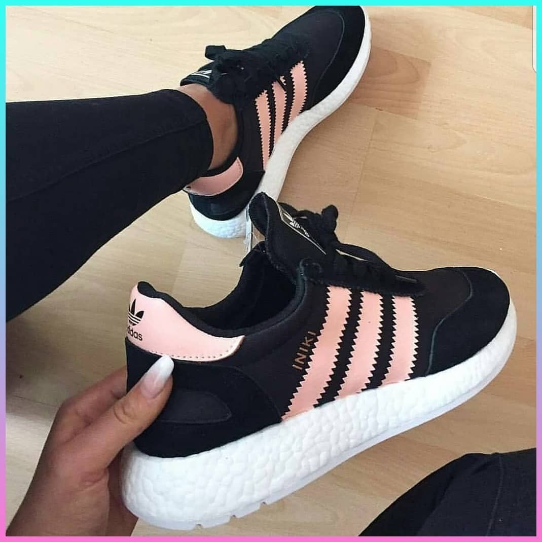 48cc3d460daa0f Adidas INIKI Runner   Women Sneakers   Running Shoes   Black and Coral Pink