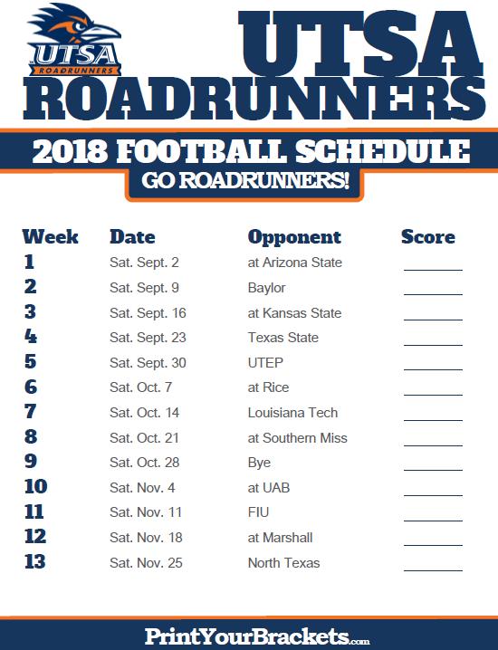 2018 Printable Utsa Roadrunners Football Schedule Football Schedule Road Runner