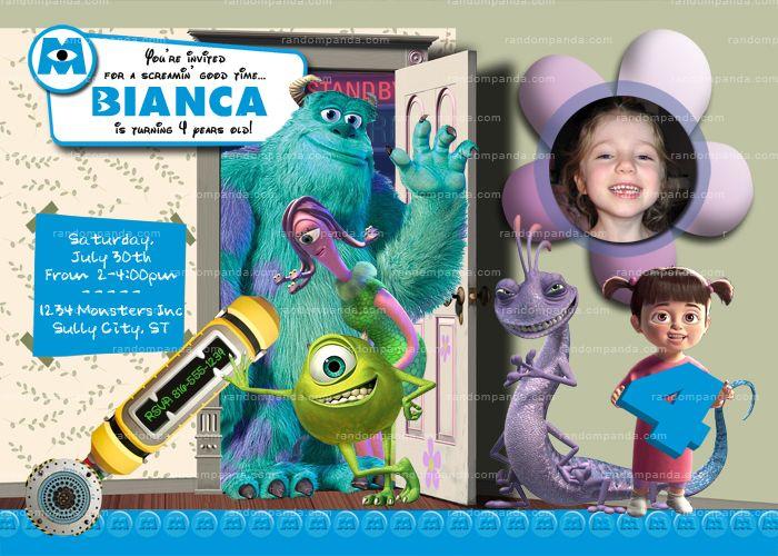 Diy Monsters Inc Invitation Girls Monsters Inc Party Monsters Inc Invite Monsters Inc Invitations Monster Inc Birthday Monster Inc Party