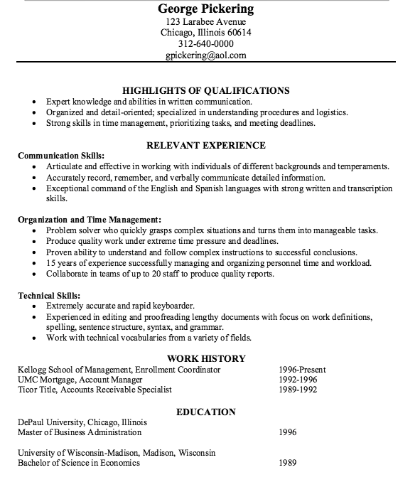 Example Of Accounts Receivable Specialist Resume