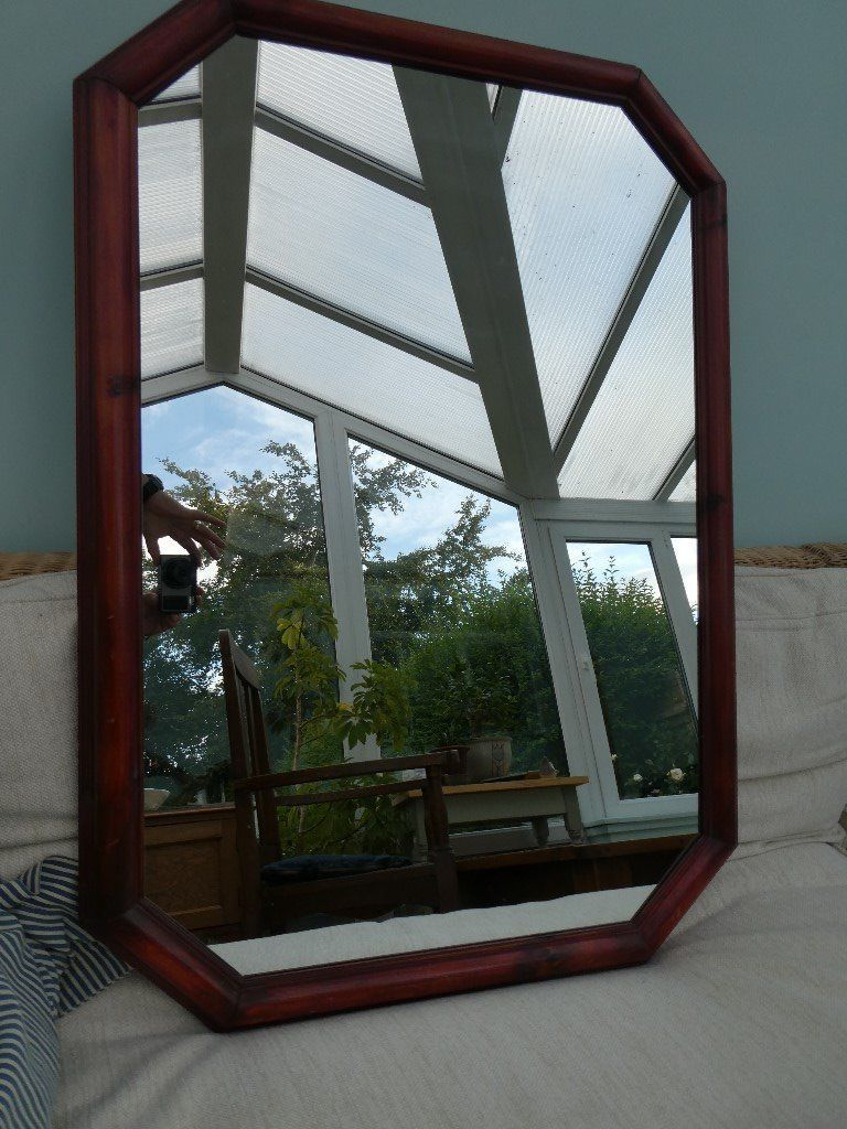 Wooden Framed Mirror - rectangular with angled corners. Dimensions ...