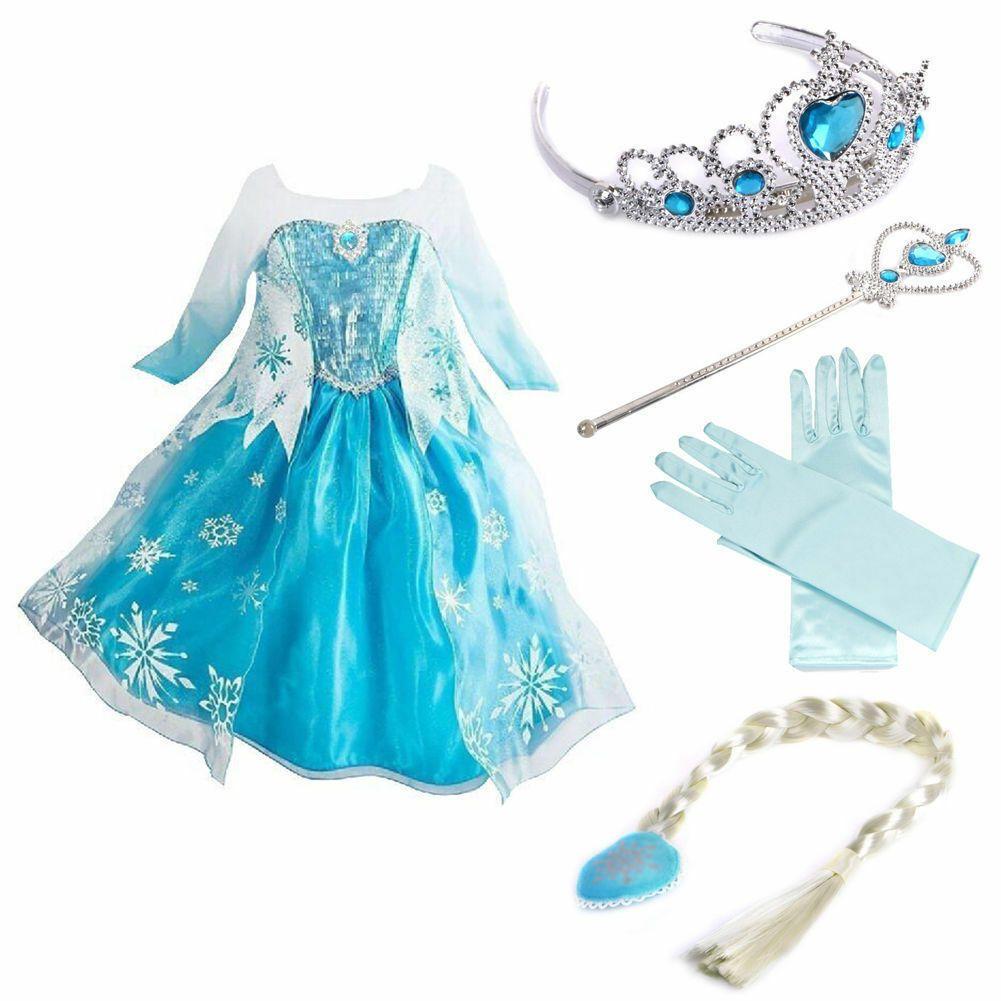 NUOVO Abito congelati Elsa Anna Princess Dress Kids Costume Party Fancy SNOW QUEEN
