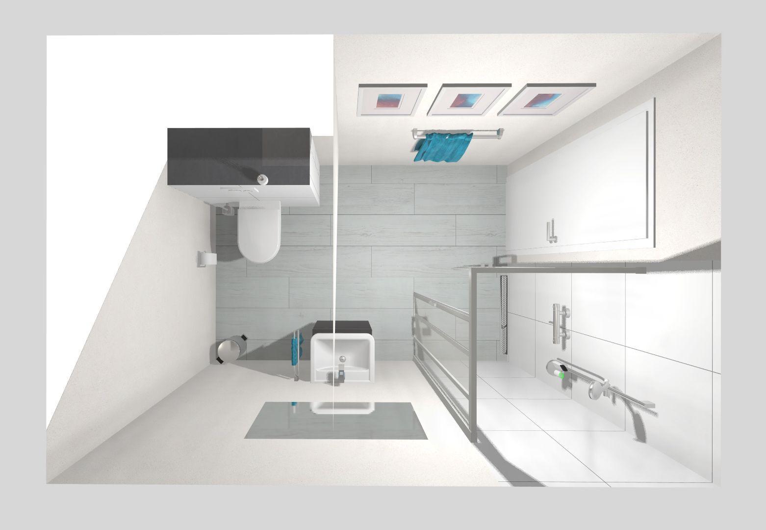 Dieses Kleine Bad Mit Schrage Bietet Dank Cleverer Aufteilung Genug Platz Fur Eine Ebenerdige Dusche Ein Waschbecken Und Ein Wand Wc Da In 2020 Bathtub Storage Decor