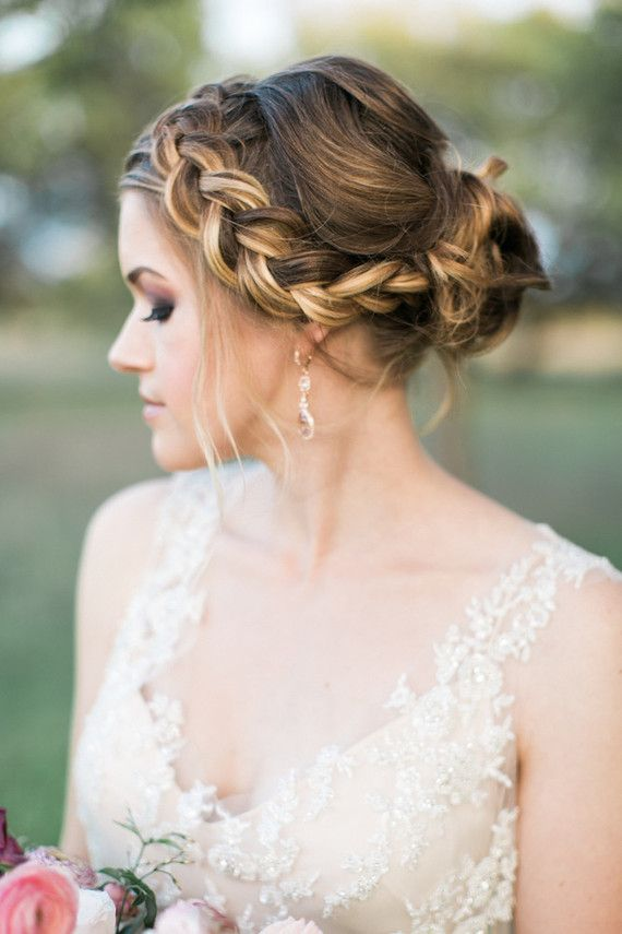 Romantic Outdoor Spring Wedding Inspiration Hair Style Braided