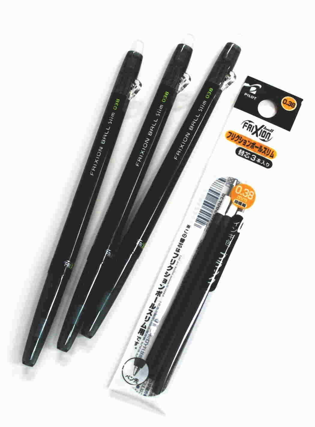 Amazon.com: Pilot Frixion Ball slim Retractable Erasable Gel Ink Pens,fine Point, - 0.38 Mm - Black Ink- Value set of 3 & 3 Gel Ink Pen Refill Pack: Office Products