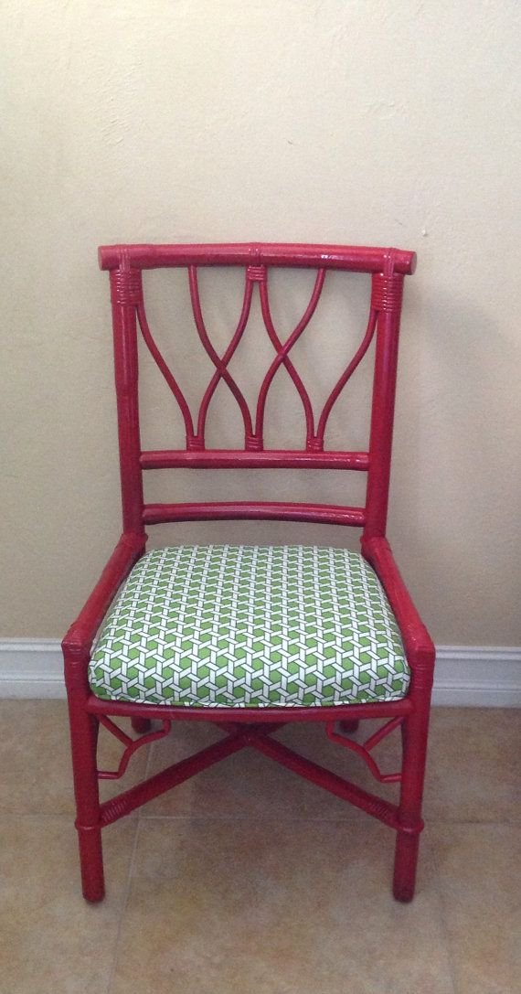 Chinese Chippendale Chair.Ficks Reed.Vintage Bamboo Chair.Red Chair.Rattan Chair..Patio Chair.Dining Chair.Desk Chair.Home Decor