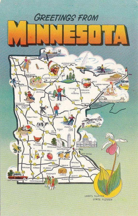 Vintage Greetings From Minnesota Postcard By Lostpropertyvintage