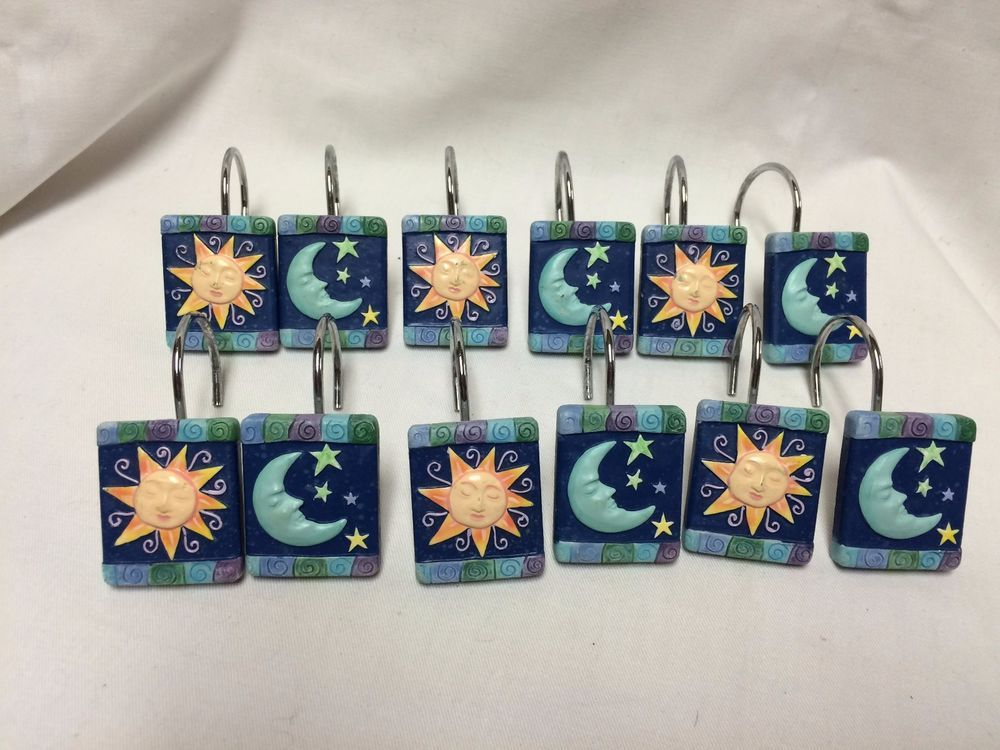 Moon And Sun Stars Blue Astrology Metal Shower Curtain Hooks Euc