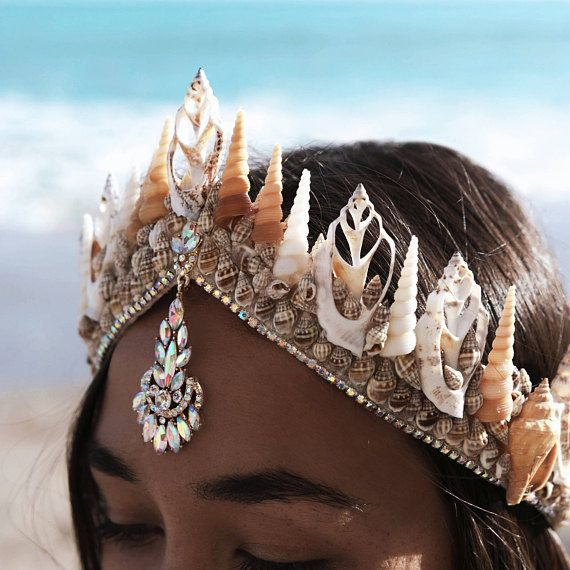 Siren Song Mermaid Tiara is part of Mermaid crown - please note the current made to order time frame for this item is 2 weeks  ☾ ☆☽  An elegant seashell crown adorned with iridescent crystals that change color in the light  Handmade on an adjustable sturdy base that ties with a lace closure  One size fits all  Please be aware that each item is one