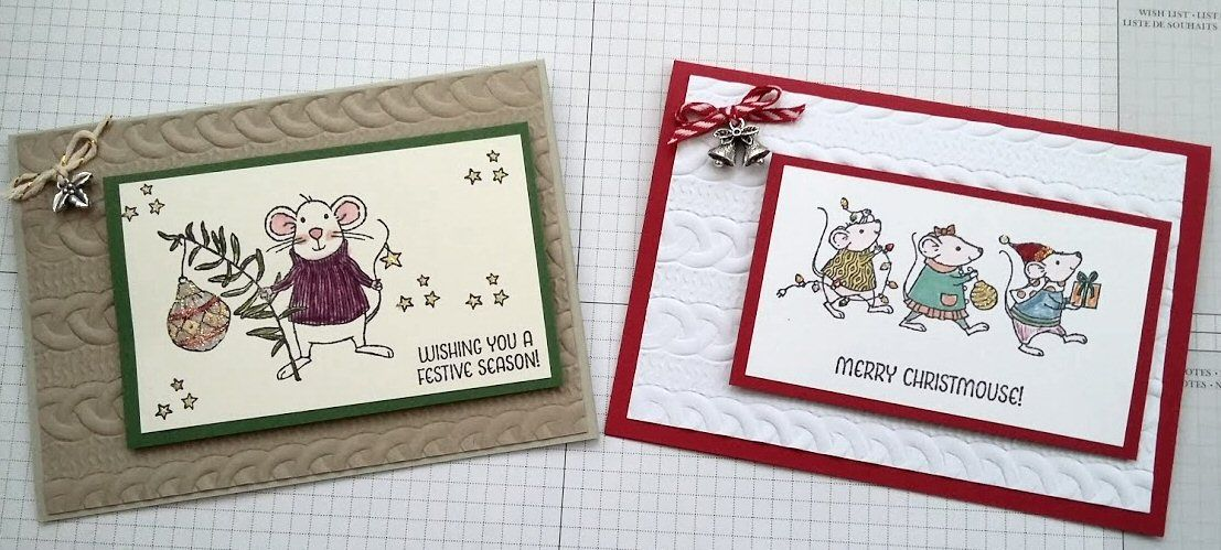 Stampin' Up! Cable Knit Dynamic embossing folder, Merry Mice, Crumb Cake.  Created by Pauline Barnfather, I Create Craft.