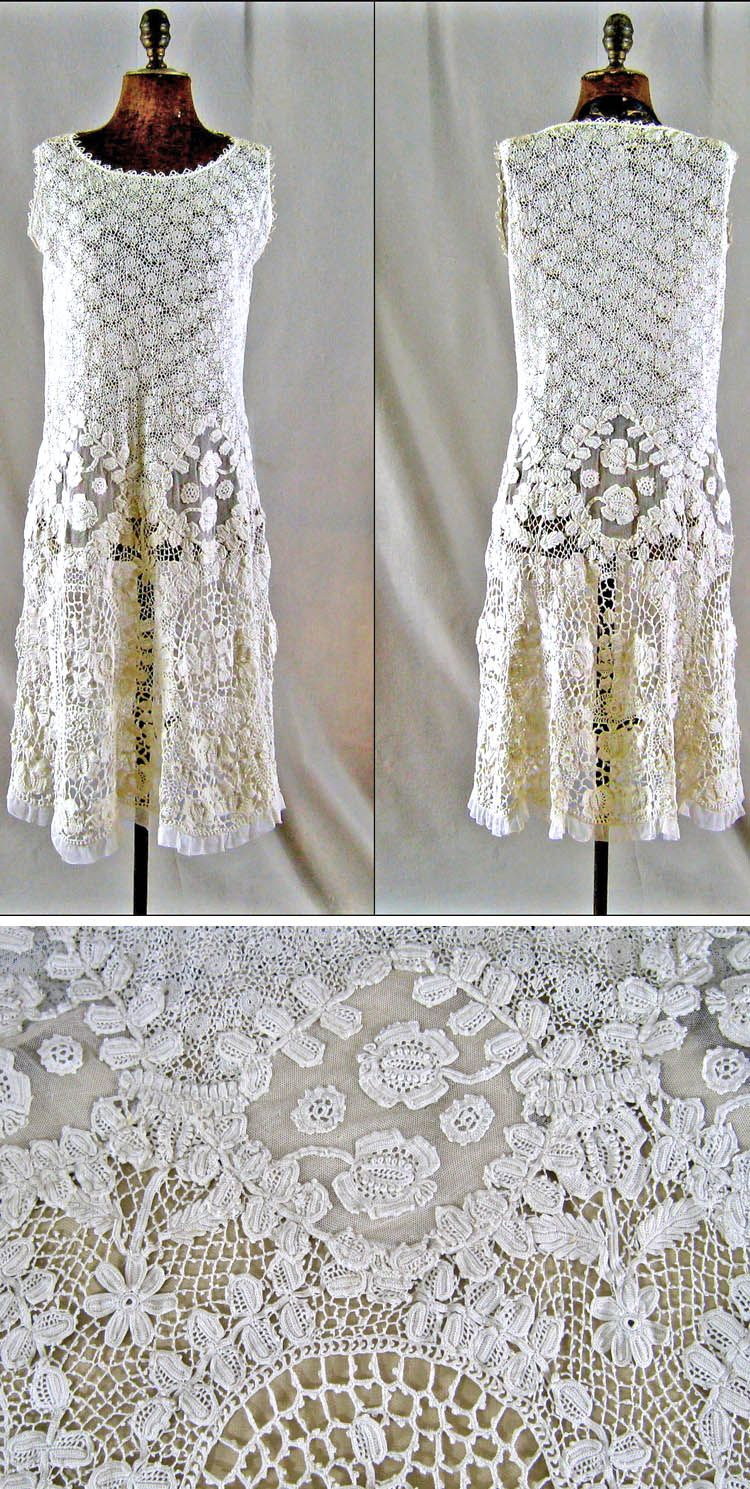 Dress, ca. 1920, of handmade light ecru Irish crochet lace. Tulle inserts at about hip height. Scalloped hem decorated with tulle ruffle. annacottage/ebay