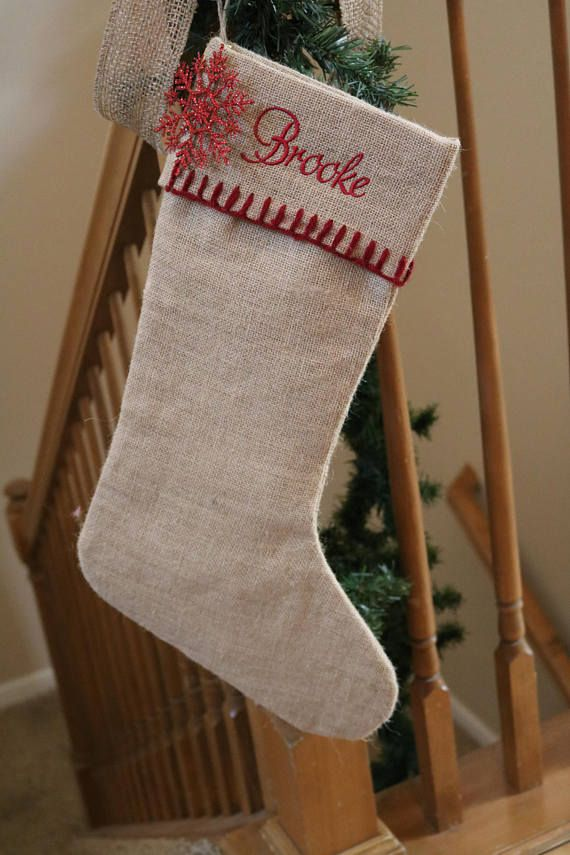 Christmas Burlap Stockings Free Monogramming Personalized Available