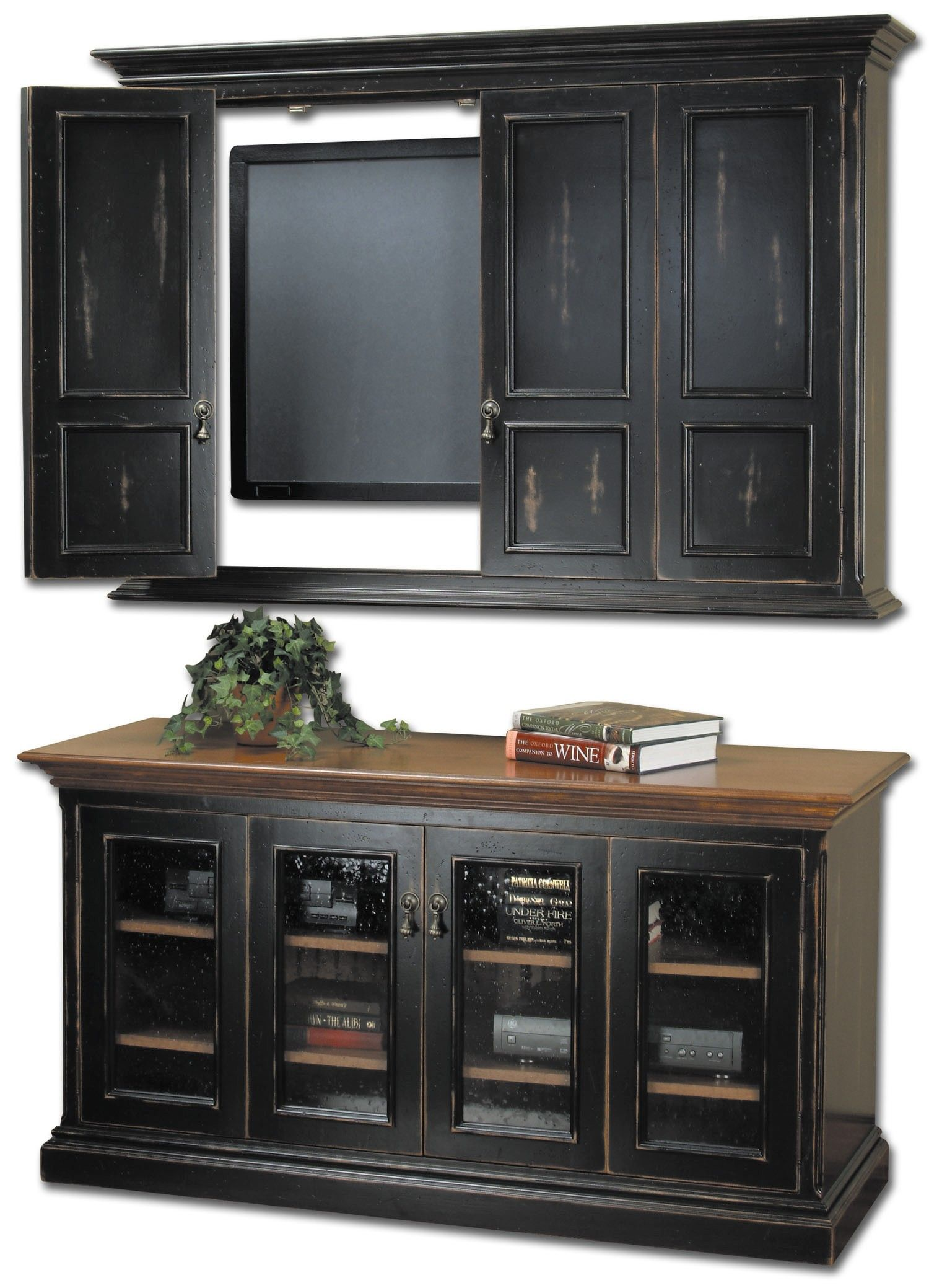 Wooden cabinets with glass doors built in large lcd over rustic wooden cabinets with glass doors built in large lcd over rustic black cabinets glass doors planetlyrics Images