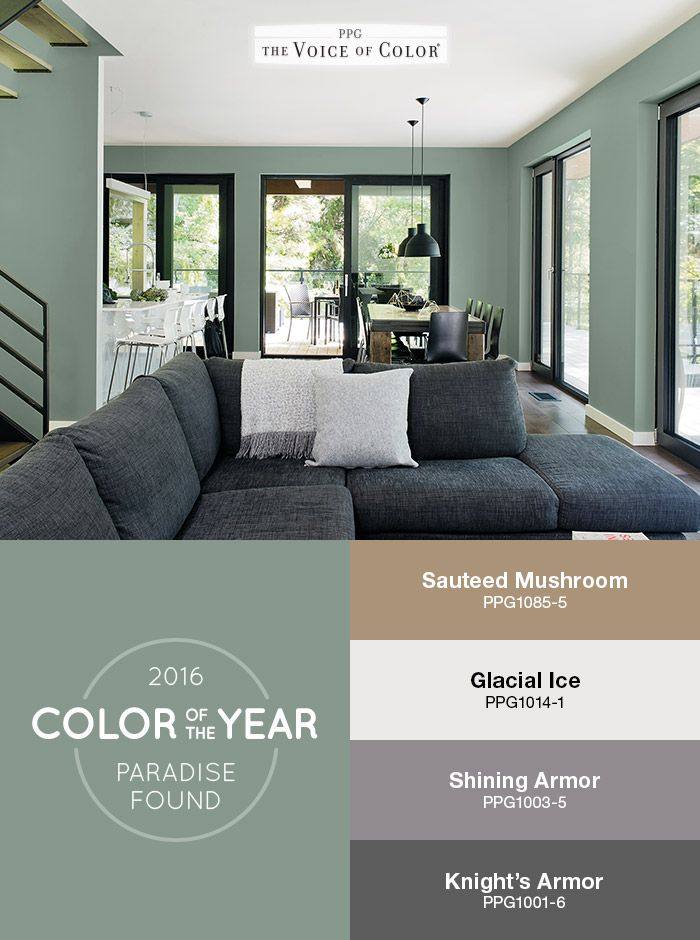 The Ppg Voice Of Color 2016 Paint Year Paradise Found Is Featured In This Living Room Balanced With Natural Wood Subtle Black Matte Metals