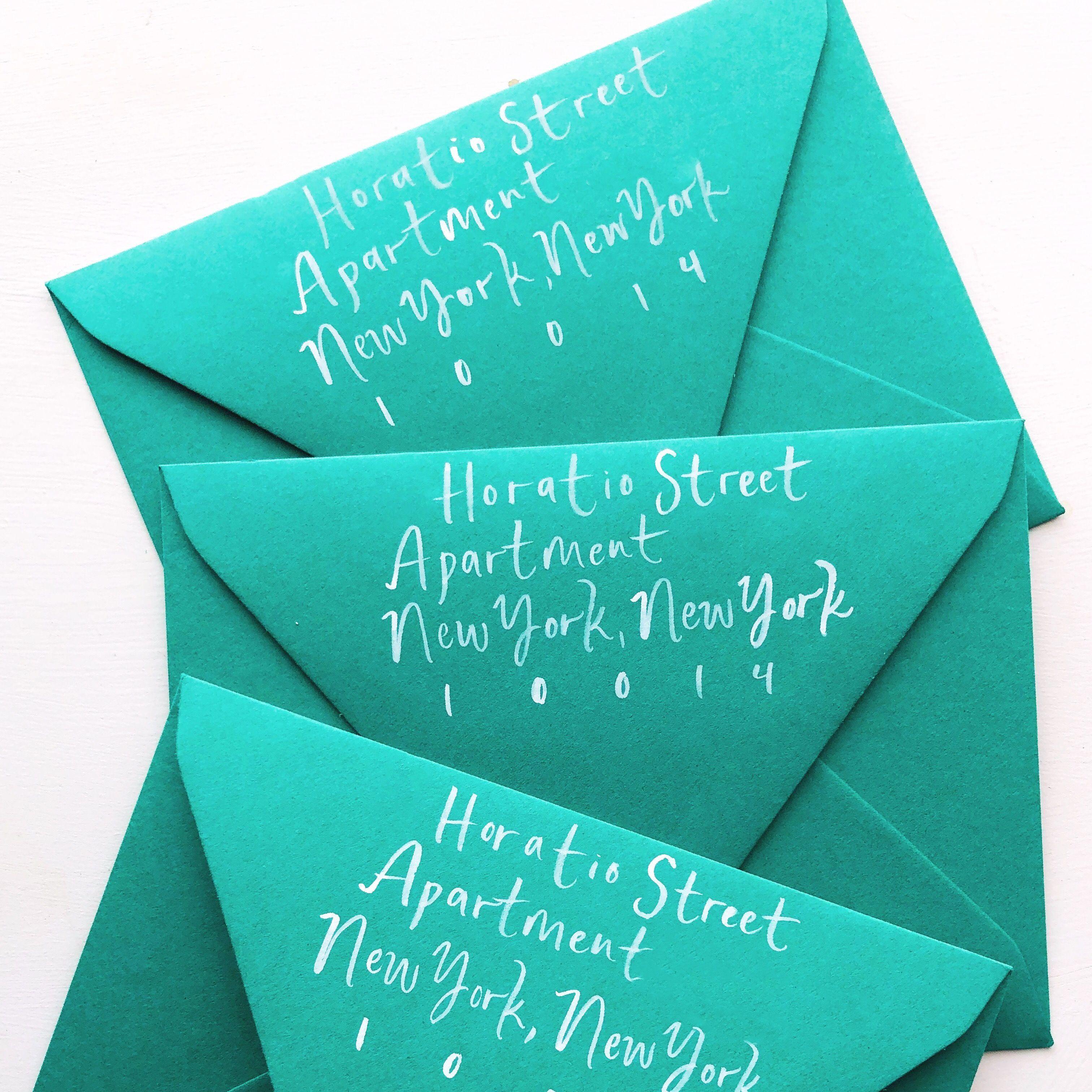 Whimsical Brush Lettering Calligraphy Envelopes in 2020