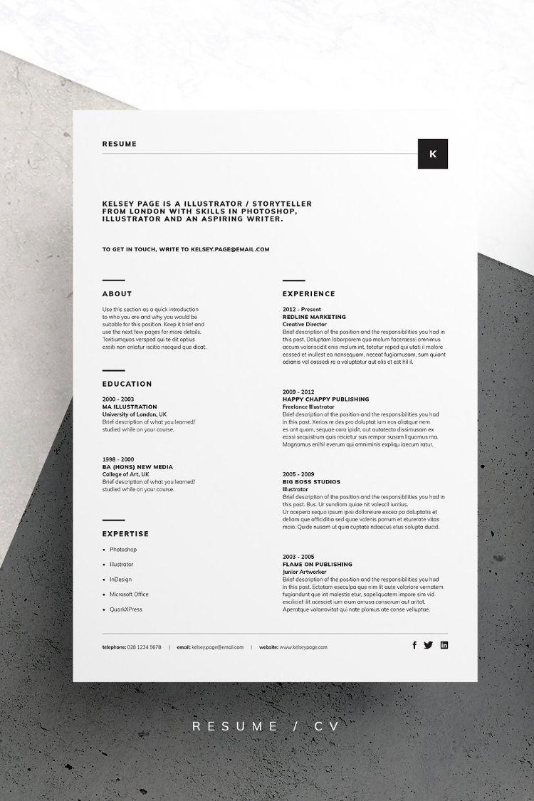 Resume Cv Kelsey Graphic Design Cv Cv Template Resume Design
