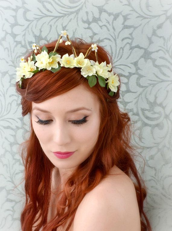 Floral crown flower tiara bridal head piece by gardensofwhimsy