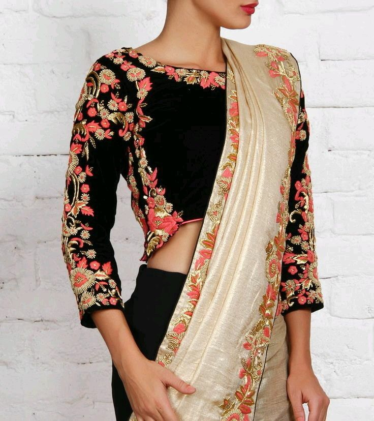 Black and off white saree