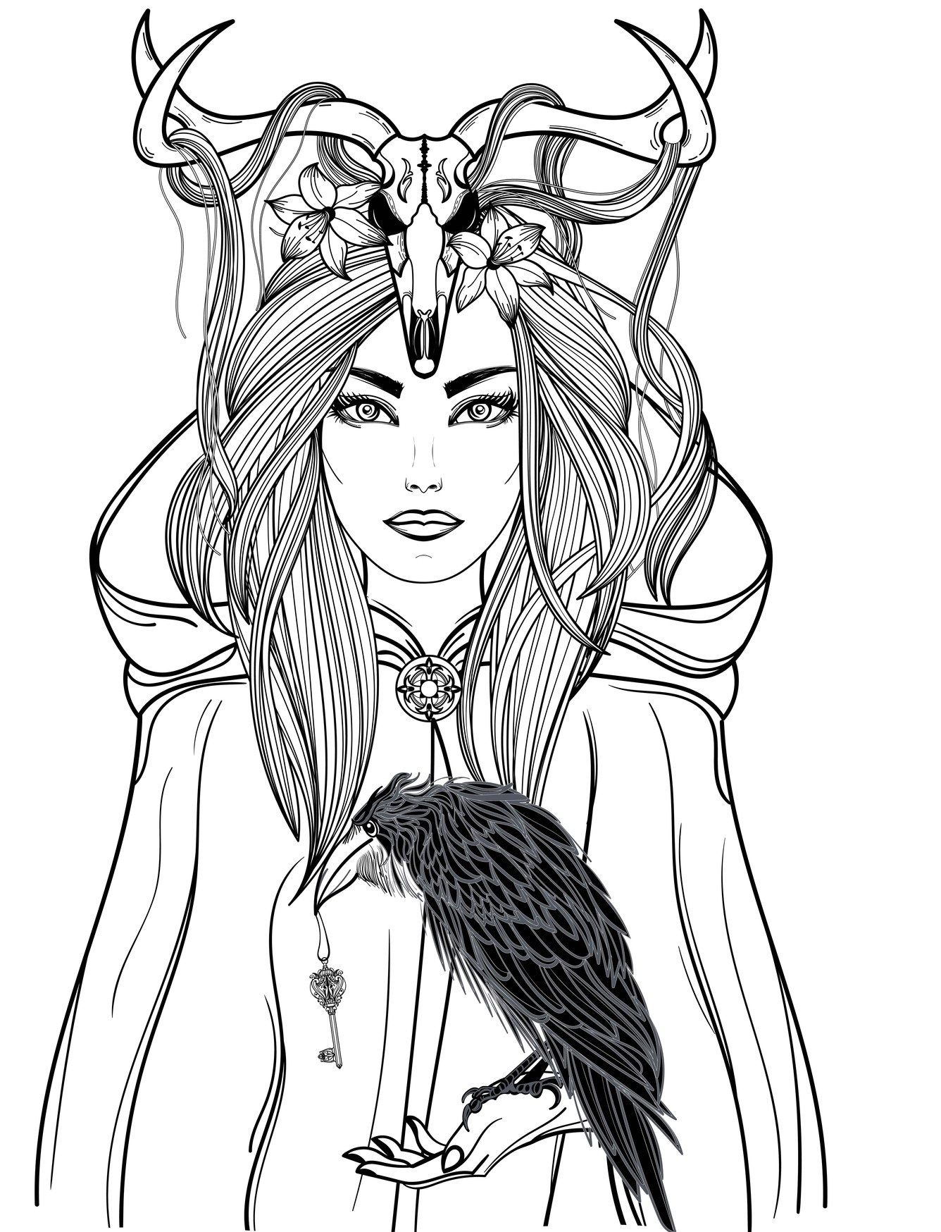 28 gothic morbid women to color! coloring horror