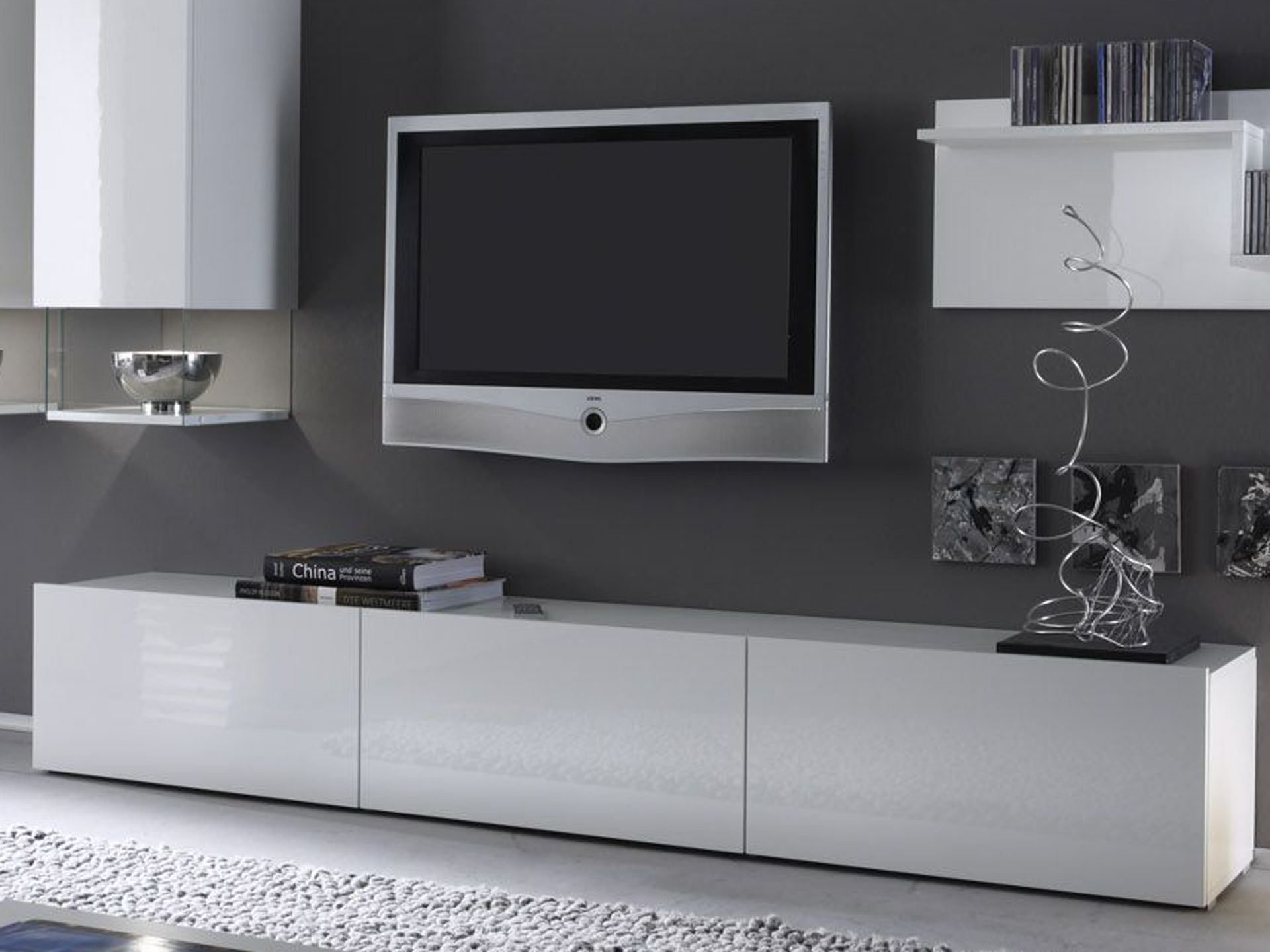meuble tele blanc. Black Bedroom Furniture Sets. Home Design Ideas