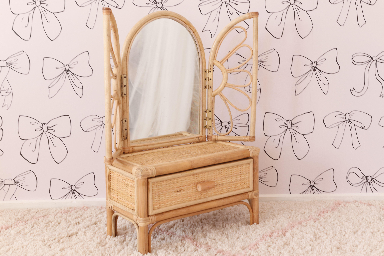 This darling vanity is available for pre-sale very soon!! @junimoon_store 🥰🥰🥰 #vanity #kidsroom #kidsdecor #kidsinterior #playroom #bohostyle #bohonursery #bohodecor #rattanfurniture