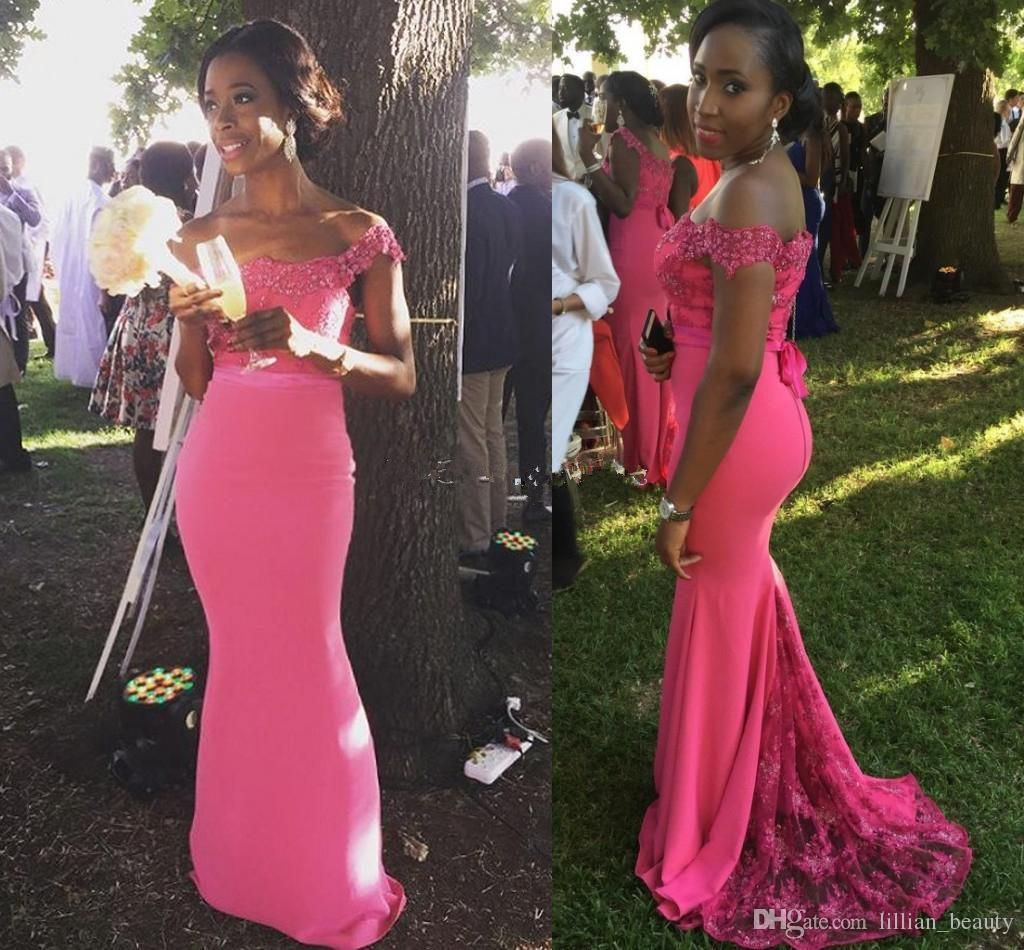 2017 Fuchsia Lace Mermaid Bridesmaid Dresses Nigerian Black Girls Fitted  Wedding Guest Dresses African Bridesmaid Gowns Off Shoulder Custom Classic  ... 147c351f1558