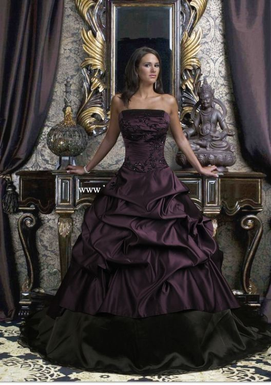 Purple and black evening gown